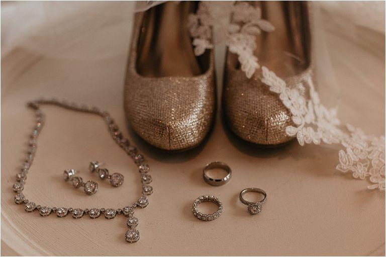 wedding rings and wedding shoe detail photos