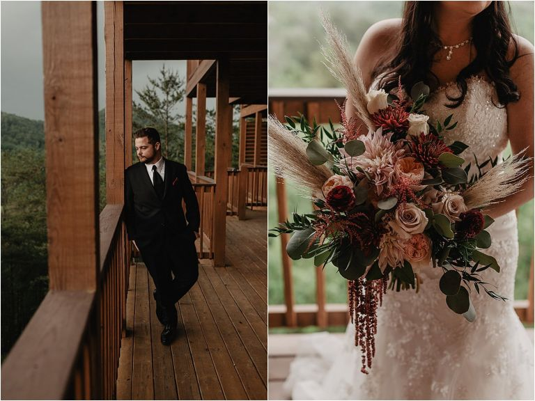 groom and bride standing on cabin porch with large bouquet