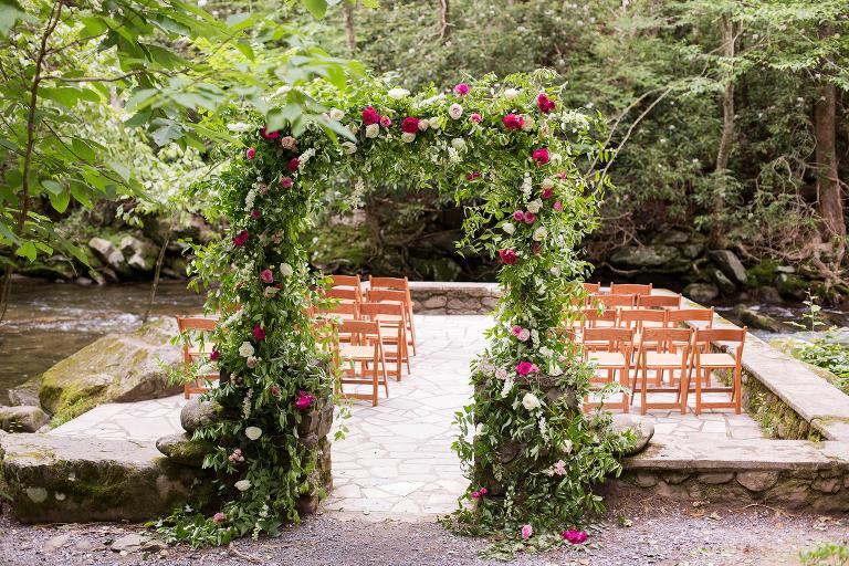 Lush Wedding Arbor at Spence Cabin